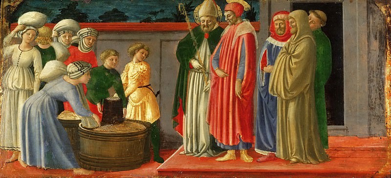 Master of the Castello Nativity, Italian (active Florence), active c. 1450-c. 1475 -- Saints Justus and Clement Multiplying Grain. Philadelphia Museum of Art