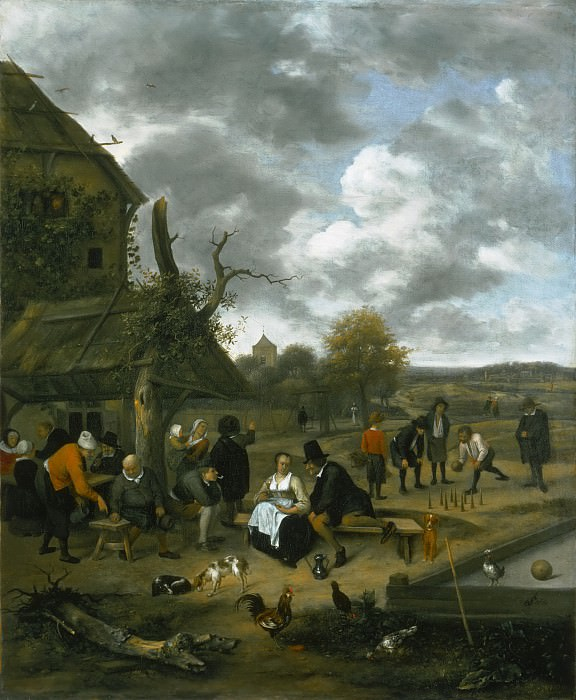 Jan Steen, Dutch (active Leiden, Haarlem, and The Hague), 1625/26-1679 -- Landscape with an Inn and Skittles. Philadelphia Museum of Art