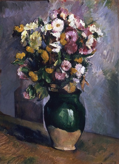 Paul Cézanne, French, 1839-1906 -- Still Life with Flowers in an Olive Jar. Philadelphia Museum of Art