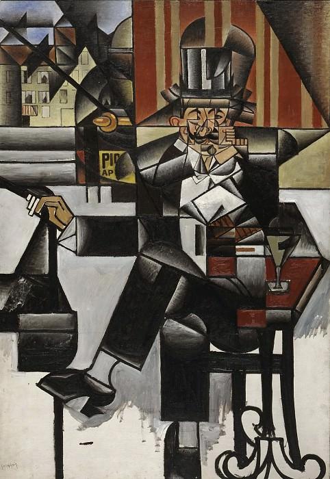 Juan Gris (José Victoriano González Pérez), Spanish, 1887-1927 -- Man in a Café. Philadelphia Museum of Art