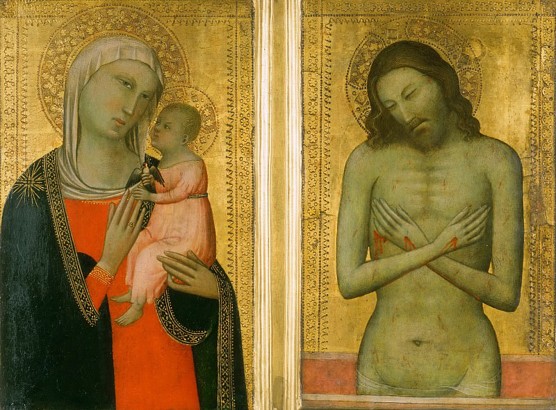 Allegretto di Nuzio, also called Allegretto Nuzi, Italian (active Fabriano and Florence), first documented 1345, died 1373 -- Virgin and Child; Man of Sorrows. Philadelphia Museum of Art
