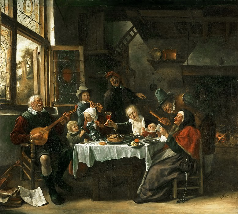 Jan Steen, Dutch (active Leiden, Haarlem, and The Hague), 1625/26-1679 -- As the Old Ones Sing, So the Young Ones Pipe. Philadelphia Museum of Art