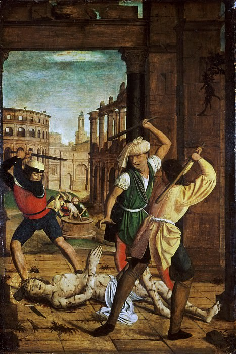 Josse Lieferinxe, French, documented 1493-1505/8 -- The Martyrdom of Saint Sebastian. Philadelphia Museum of Art