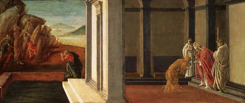 Sandro Botticelli (Alessandro di Mariano Filipepi), Italian (active Florence and Rome), 1445-1510 -- The Last Moments of Saint Mary Magdalene. Philadelphia Museum of Art