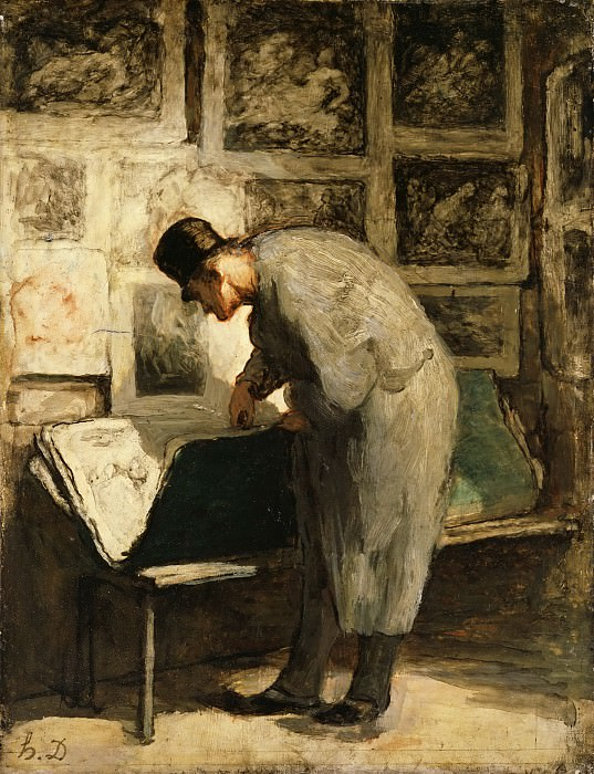 Honoré Daumier, French, 1808-1879 -- The Print Collector. Philadelphia Museum of Art