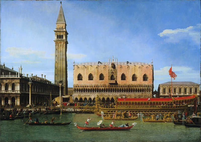 Canaletto (Giovanni Antonio Canal), Italian (active Venice, Rome, and England), 1697-1768 -- The Bucintoro at the Molo on Ascension Day. Philadelphia Museum of Art