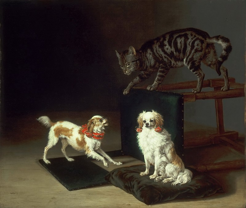 Paulus Potter, Dutch (active The Hague, Delft, and Amsterdam), 1625-1654 -- Cat Playing with Two Dogs. Philadelphia Museum of Art