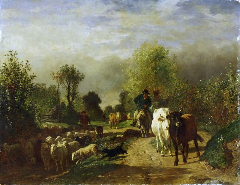 Attributed to Constant Troyon, French, 1810-1865 -- Return from the Market. Philadelphia Museum of Art