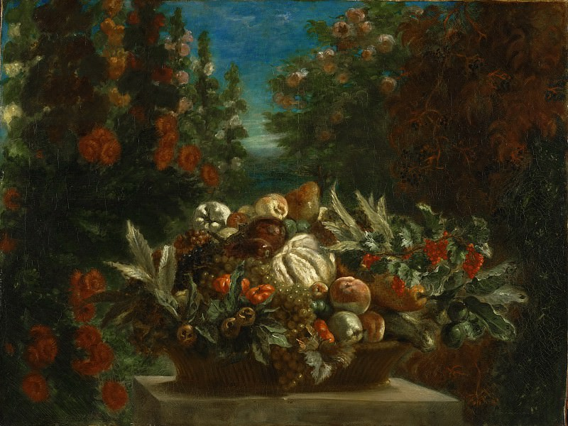 Ferdinand-Victor-Eugène Delacroix, French, 1798-1863 -- Still Life with Flowers and Fruit. Philadelphia Museum of Art