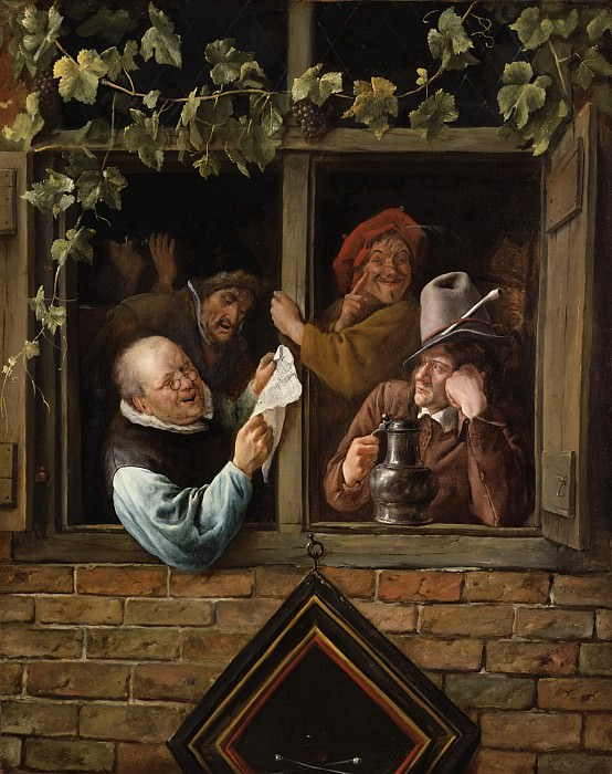 Jan Steen, Dutch (active Leiden, Haarlem, and The Hague), 1625/26-1679 -- Rhetoricians at a Window. Philadelphia Museum of Art