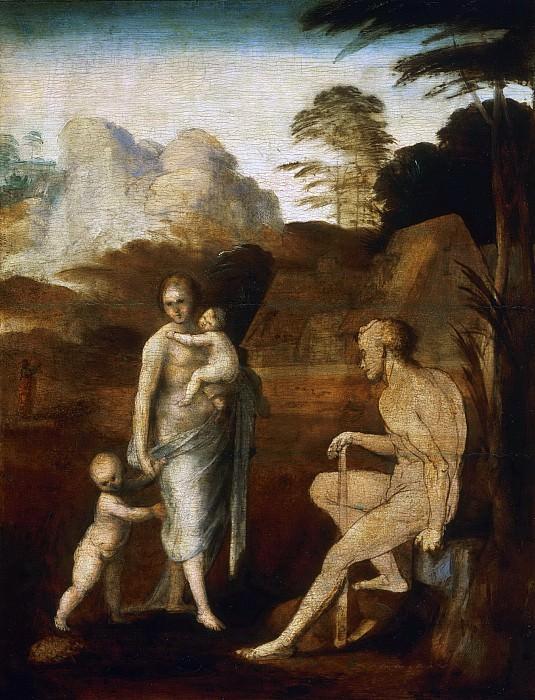 Fra Bartolomeo (Bartolomeo di Paolo), also called Baccio della Porta, Italian (active Florence, Venice, and Rome), 1472-1517 -- Adam and Eve with Cain and Abel. Philadelphia Museum of Art