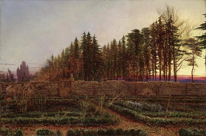 William Bell Scott, Scottish, 1811-1890 -- The Gloaming (Manse Garden, Berwickshire). Philadelphia Museum of Art