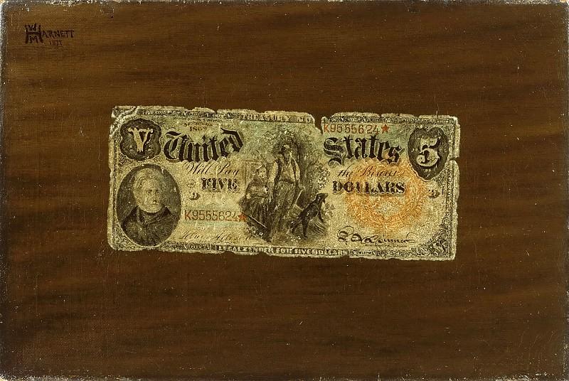 Харнет, Уильям Майкл (1848 Корк, Ирландия - 1892 Нью-Йорк) -- Натюрморт с пятидолларовой купюрой. Музей искусств Филадельфии