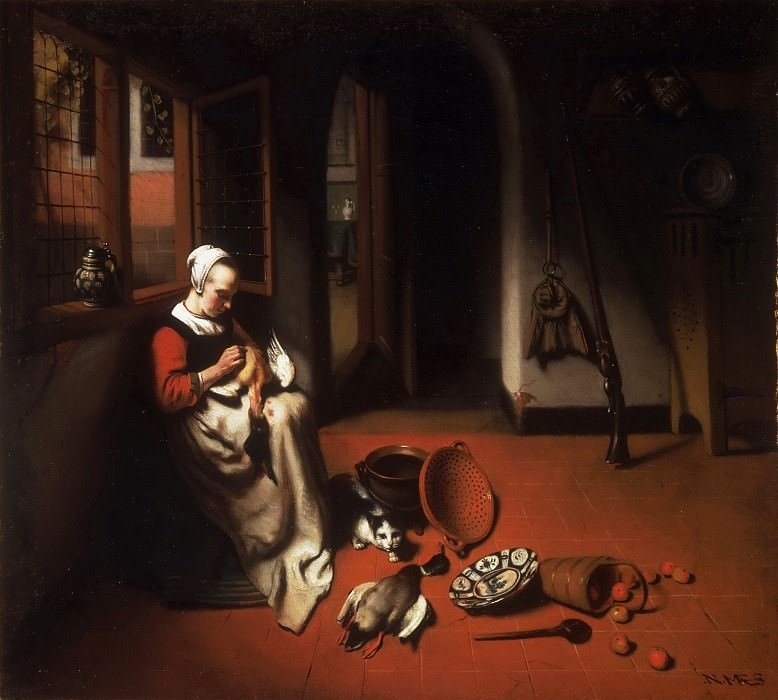 Nicolaes Maes, Dutch (active Amsterdam and Dordrecht), 1634-1693 -- Woman Plucking a Duck. Philadelphia Museum of Art