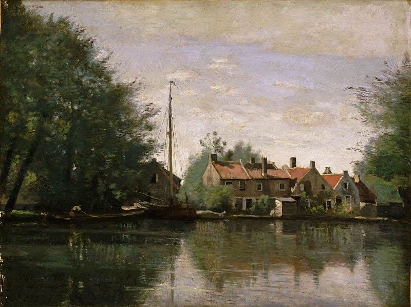 Jean-Baptiste-Camille Corot, French, 1796-1875 -- View in Holland. Philadelphia Museum of Art