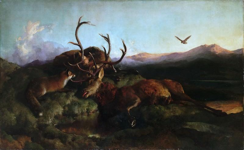 Лендсир, Эдвин Генри (Лондон 1802-1873) -- Утро (Два мертвых оленя и лиса). Музей искусств Филадельфии