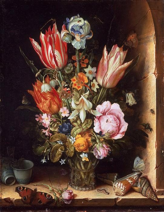 Christoffel van den Berghe, Dutch (active Middelburg), active c. 1617-c. 1642 -- Still Life with Flowers in a Vase. Philadelphia Museum of Art