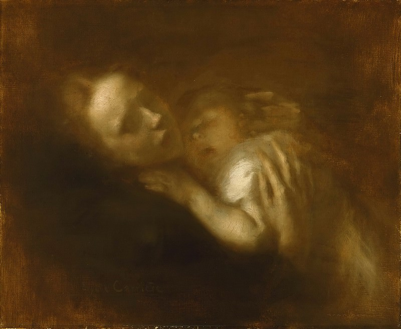 Eugène Carrière, French, 1849-1906 -- Mother and Child Sleeping. Philadelphia Museum of Art