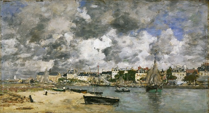 Eugène-Louis Boudin, French, 1824-1898 -- View of Trouville. Philadelphia Museum of Art