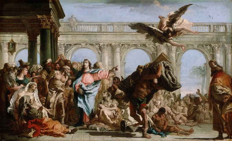 Giovanni Domenico Tiepolo, Italian (active Venice, Würzburg, and Madrid) 1727-1804 -- The Miracle of the Pool of Bethesda. Philadelphia Museum of Art