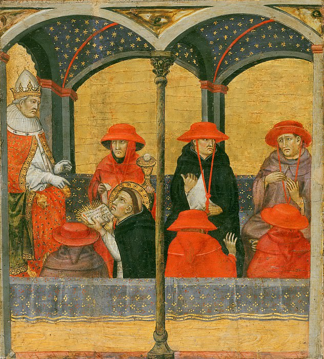 Taddeo di Bartolo, Italian (active Siena and environs, Perugia, Pisa, and Genoa), first documented 1383, died 1422 -- Saint Thomas Aquinas Submitting His Office of Corpus Domini to Pope Urban IV. Philadelphia Museum of Art