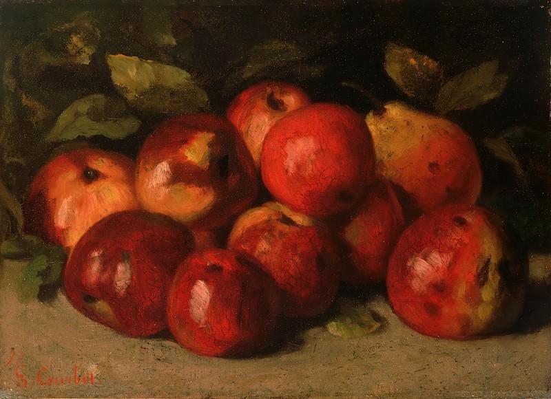 Курбе, Гюстав (1819-1877) - Натюрморт с яблоками и грушей. Музей искусств Филадельфии