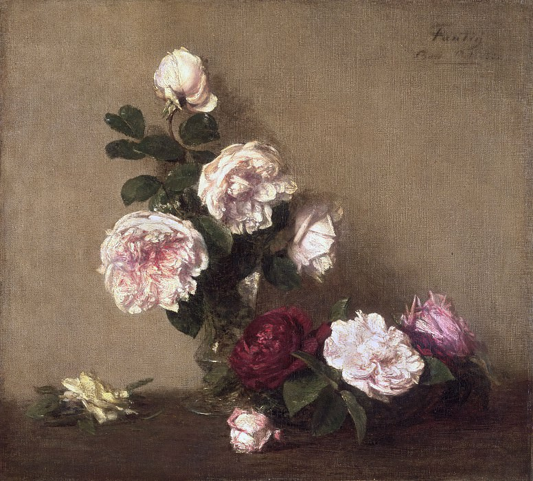 Ignace-Henri-Jean-Théodore Fantin-Latour, French, 1836-1904 -- Still Life with Roses of Dijon. Philadelphia Museum of Art