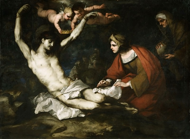 Luca Giordano, Italian (active Italy and Spain), 1632-1705 -- Saint Sebastian Cured by Irene. Philadelphia Museum of Art