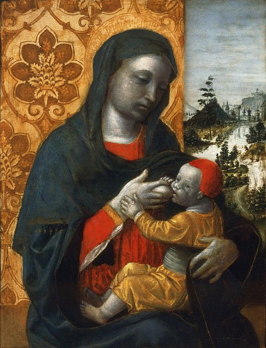 Vincenzo Foppa, Italian (active Milan), born 1427- 30, died 1515/16 -- Virgin and Child before a Landscape. Philadelphia Museum of Art