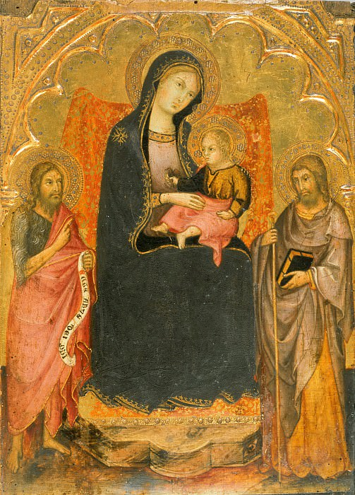Andrea di Bartolo, Italian (active Siena), first documented 1389, died 1428 -- Virgin and Child Enthroned with Saints John the Baptist and James Major. Philadelphia Museum of Art