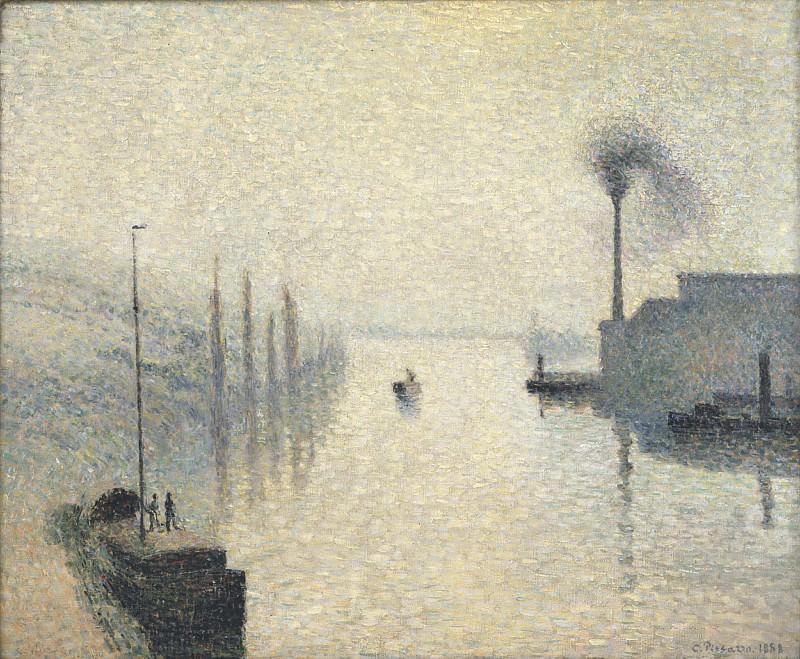 Camille Pissarro, French, 1830-1903 -- L'Île Lacroix, Rouen (The Effect of Fog). Philadelphia Museum of Art
