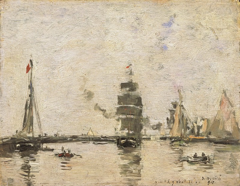 Eugène-Louis Boudin, French, 1824-1898 -- Boats in Trouville Harbor. Philadelphia Museum of Art