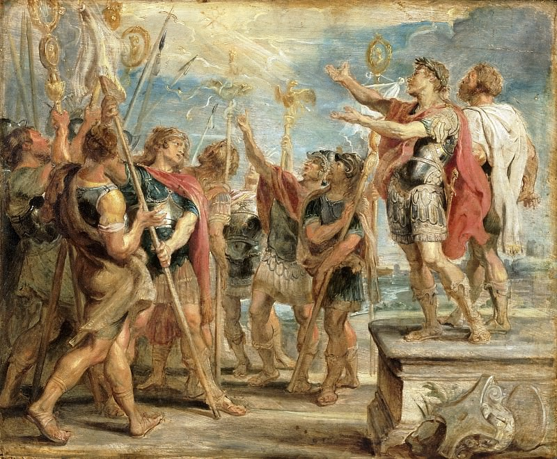 Peter Paul Rubens, Flemish (active Italy, Antwerp, and England), 1577-1640 -- The Emblem of Christ Appearing to Constantine. Philadelphia Museum of Art