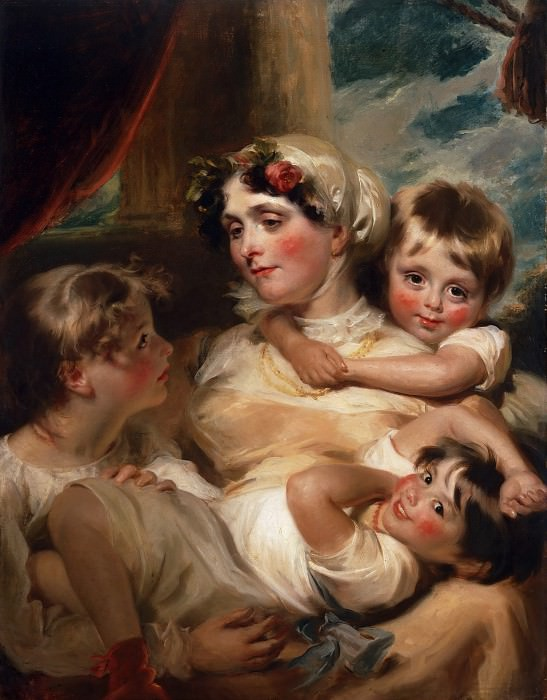 George Henry Harlow, English, 1787-1819 -- Portrait of a Mother and Her Children. Philadelphia Museum of Art (possibly Mrs. Weddell)