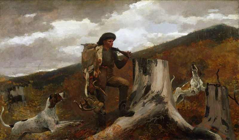 Winslow Homer, American, 1836-1910 -- A Huntsman and Dogs. Philadelphia Museum of Art
