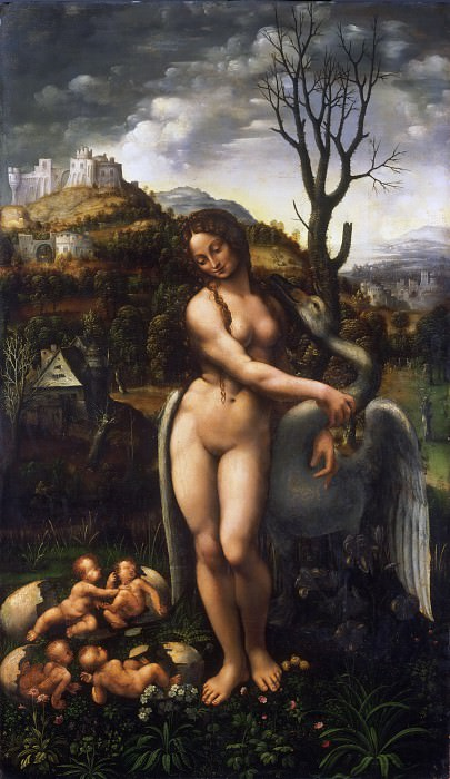 Attributed to Fernando Yañez (Fernando de Almedina), Spanish (active Valencia and Italy), documented 1504/5-1536 -- Leda and the Swan. Philadelphia Museum of Art