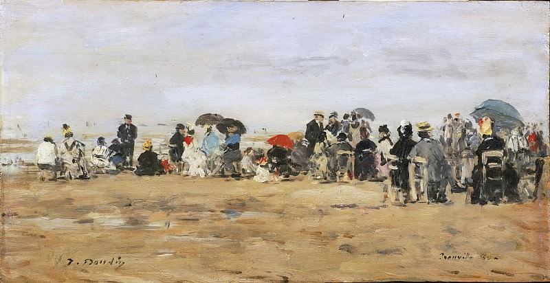Eugène-Louis Boudin, French, 1824-1898 -- Beach at Trouville. Philadelphia Museum of Art