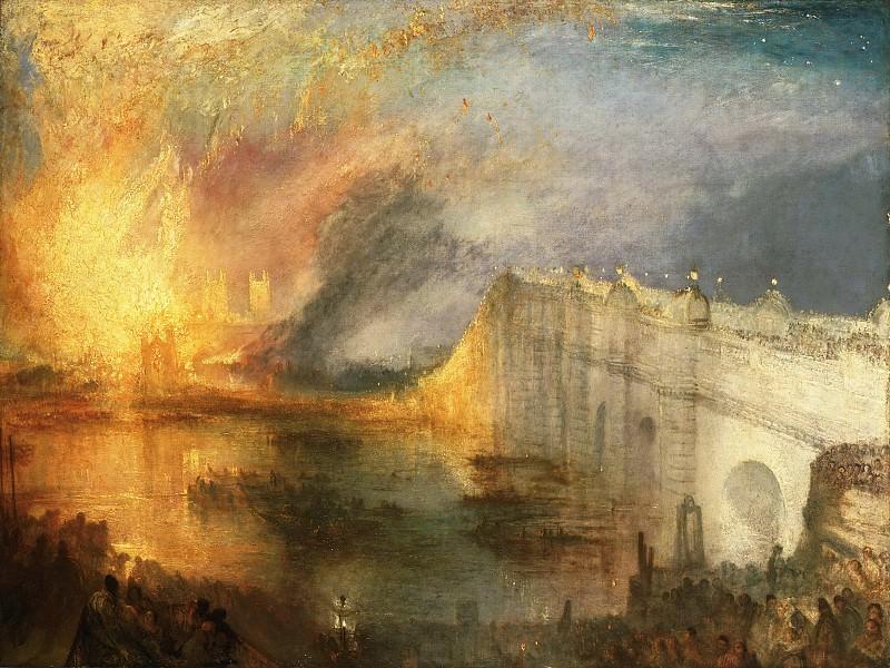 Тёрнер, Джозеф Мэллорд Уильям (1775 Лондон - 1851 Челси) -- Пожар в здании лондонского парламента 16 октября 1834 года. Музей искусств Филадельфии