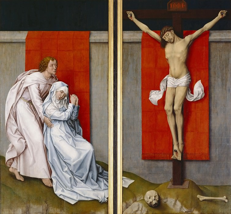 Rogier van der Weyden, Netherlandish (active Tournai and Brussels), 1399/1400-1464 -- The Crucifixion, with the Virgin and Saint John the Evangelist Mourning. Philadelphia Museum of Art