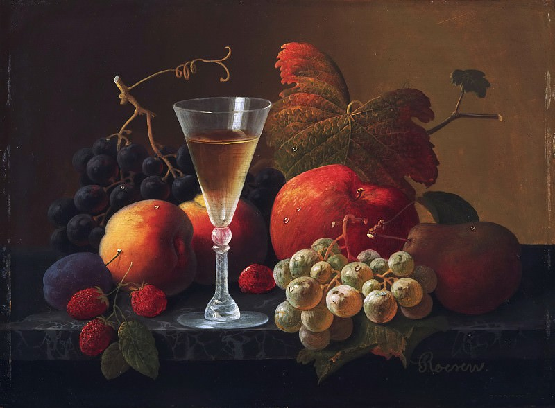 Severin Roesen, American (born Germany), c. 1815-c. 1872 -- Still Life with Fruit and a Wine Glass. Philadelphia Museum of Art