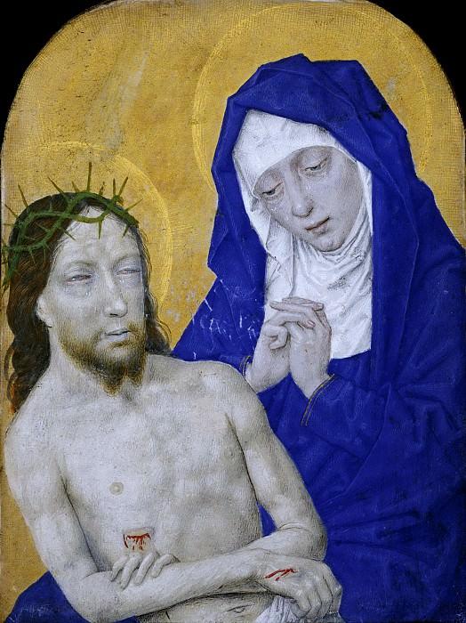 Simon Marmion, Netherlandish (active Amiens, Lille, Tournai, and Valenciennes), first documented 1449, died 1489 -- Pietà. Philadelphia Museum of Art