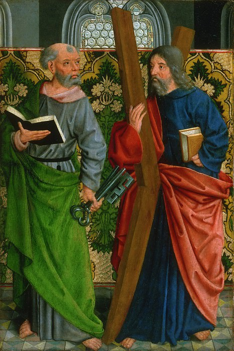 Master of the Holy Kinship, German (active Cologne), c. 1450-c. 1515 -- Saints Peter and Andrew. Philadelphia Museum of Art