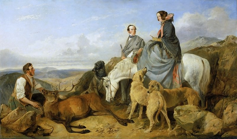 Richard Ansdell, English, 1815-1885 -- Mr. and Mrs. John Naylor with a Keeper and a Dead Stag. Philadelphia Museum of Art