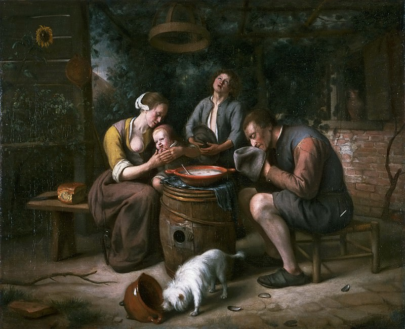 Jan Steen, Dutch (active Leiden, Haarlem, and The Hague), 1625/26-1679 -- Prayer before the Meal. Philadelphia Museum of Art