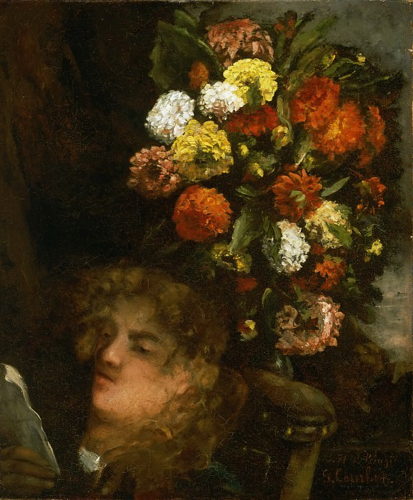 Gustave Courbet, French, 1819-1877 -- Head of a Woman and Flowers. Philadelphia Museum of Art