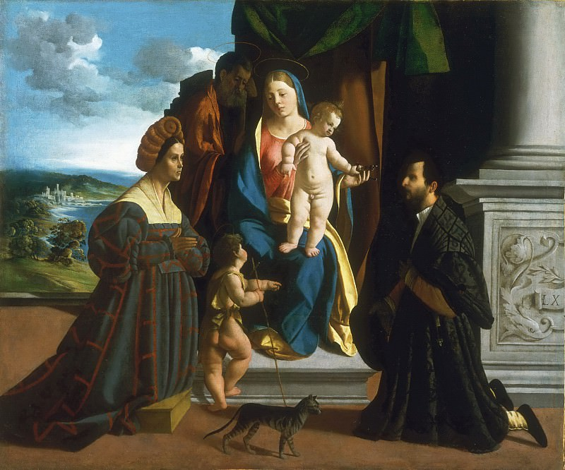Dosso Dossi (Giovanni de' Luteri), Italian (active Ferrara), first recorded 1512, died 1542 -- The Holy Family, with the Young Saint John the Baptist, a Cat, and Two Donors. Philadelphia Museum of Art