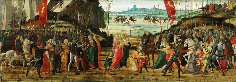 Jacopo del Sellaio (Jacopo di Archangelo), Italian (active Florence), 1441/42-1493 -- The Reconciliation of the Romans and Sabines. Philadelphia Museum of Art