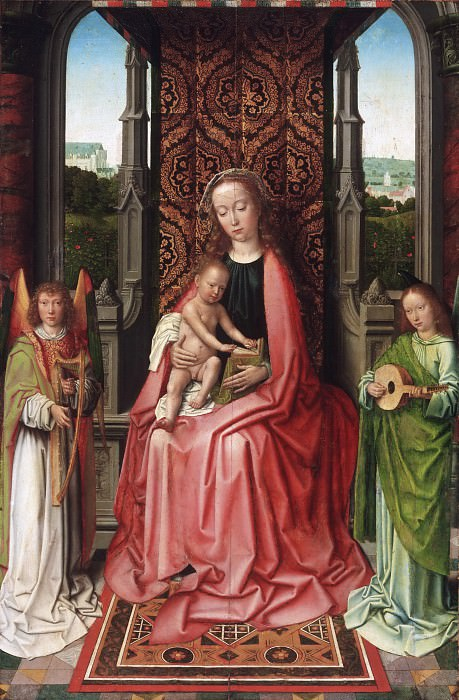 Gerard David, Netherlandish (active Bruges), first documented 1484, died 1523 -- Enthroned Virgin and Child, with Angels. Philadelphia Museum of Art
