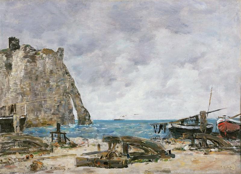 Eugène-Louis Boudin, French, 1824-1898 -- Beach at Étretat. Philadelphia Museum of Art