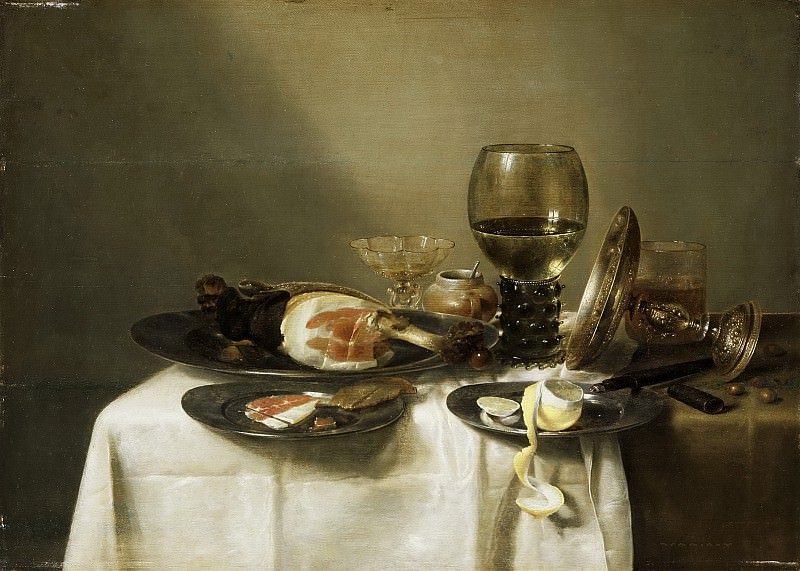Willem Claesz. Heda, Dutch (active Haarlem), 1594-1680/82 -- Still Life with a Ham and a Roemer. Philadelphia Museum of Art